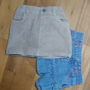 Corduroy skirt and denim skirt
